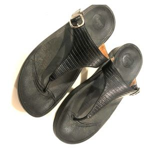 Fitflops, black leather with buckle